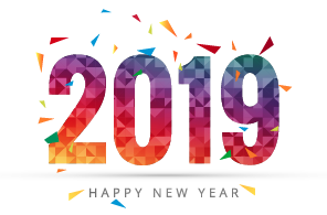 2019 Happy New Year with confetti